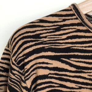 VINTAGE/ animal print boxy casual top - zebra